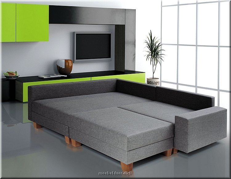 wohnlandschaft mit bettfunktion polsterecke calvados ebay. Black Bedroom Furniture Sets. Home Design Ideas