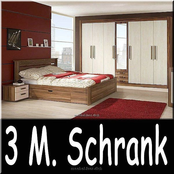 schlafzimmer royal mit 3 meter schrank farbe pflaume ahorn ebay. Black Bedroom Furniture Sets. Home Design Ideas