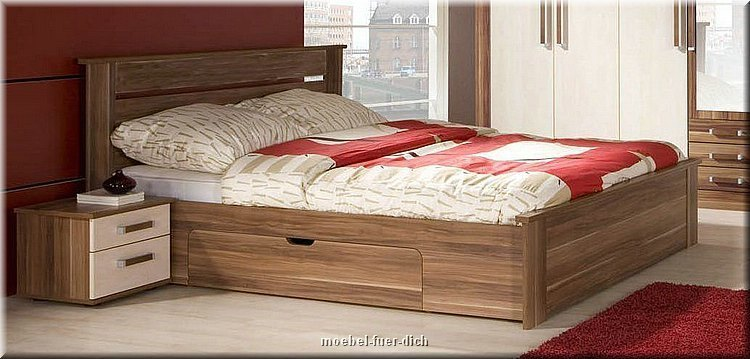 schlafzimmer komplett doppelbett mit 2 schubladen schrank. Black Bedroom Furniture Sets. Home Design Ideas