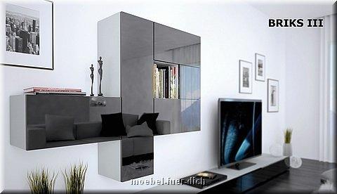 Moderne Wohnwand Modulare Anbauwand Briks Vii Hochglanz Weiss