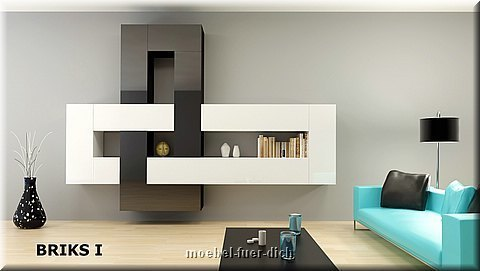moderne wohnwand modulare anbauwand briks vii hochglanz weiss schwarz 5 teilig ebay. Black Bedroom Furniture Sets. Home Design Ideas