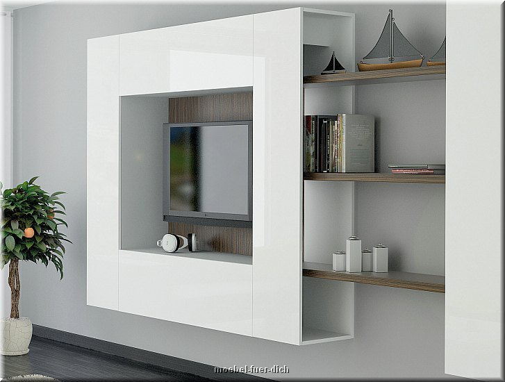 moderne wohnwand modulare anbauwand briks v hochglanz weiss 4 teilig neu ebay. Black Bedroom Furniture Sets. Home Design Ideas