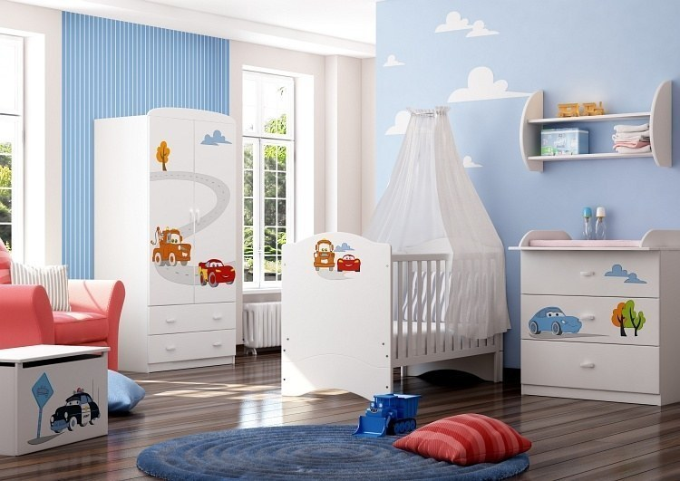 babyzimmer disney cars mit soft close und 3d gravur schrank bett wickelkommode ebay. Black Bedroom Furniture Sets. Home Design Ideas