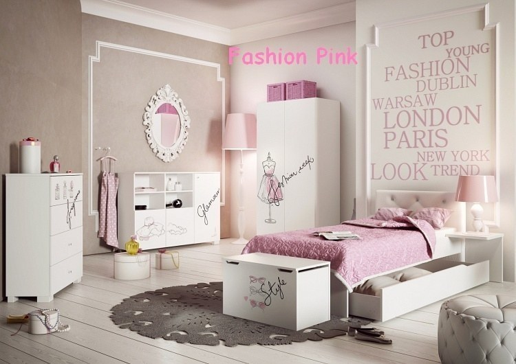 exklusives m dchenzimmer jugendzimmer set fashion pink 7. Black Bedroom Furniture Sets. Home Design Ideas