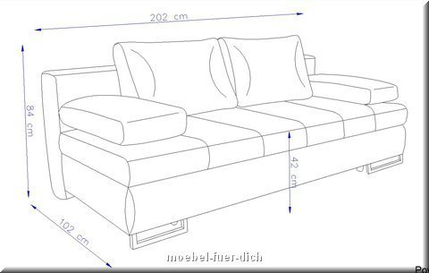 schlafsofa mit bettkasten torens sofa bettcouch mit federung und farbauswahl ebay. Black Bedroom Furniture Sets. Home Design Ideas