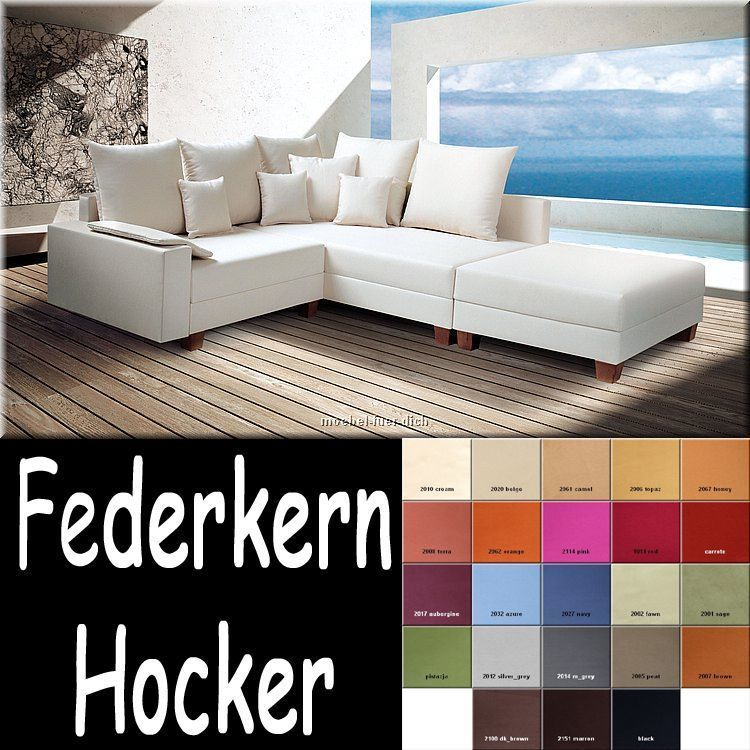 polsterecke ecksofa calvados farbauswahl microfaser oder webstoff mit hocker ebay. Black Bedroom Furniture Sets. Home Design Ideas