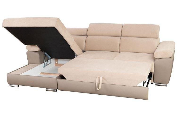 ecksofa granada mit schlaffunktion bettkasten und verstellbaren kopflehnen. Black Bedroom Furniture Sets. Home Design Ideas