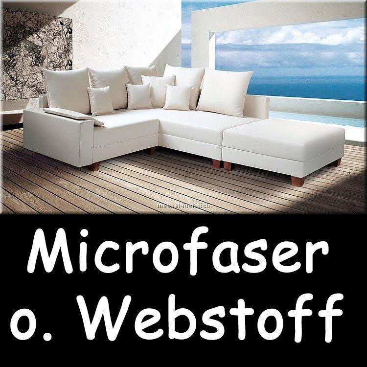 Polsterecke ecksofa calvados microfaser oder webstoff ebay for Microfaser ecksofa