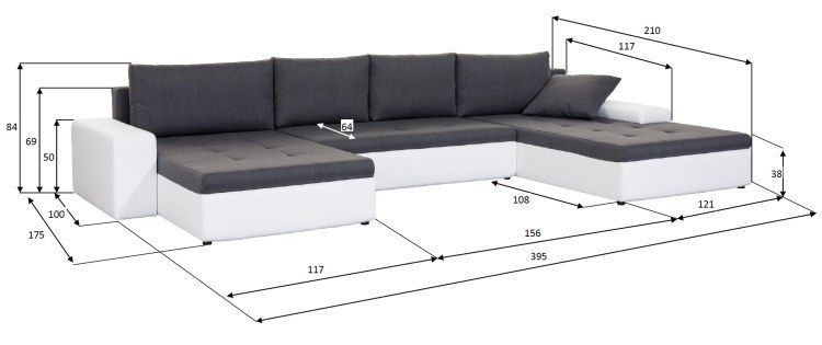xxl wohnlandschaft porto u form sofa mit schlaffunktion. Black Bedroom Furniture Sets. Home Design Ideas