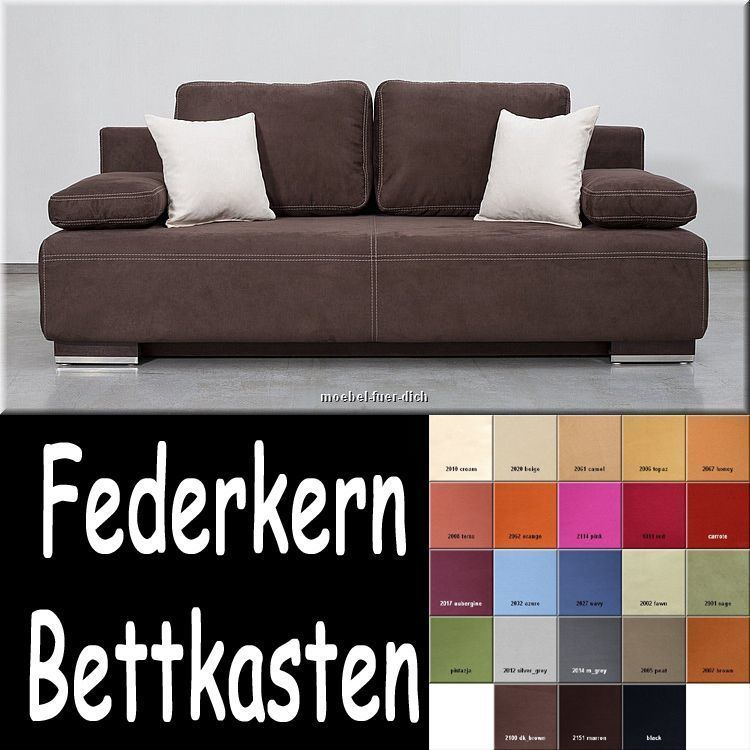 edles bettsofa schlafsofa hato mit bettkasten federkern stoff und farbauswahl. Black Bedroom Furniture Sets. Home Design Ideas