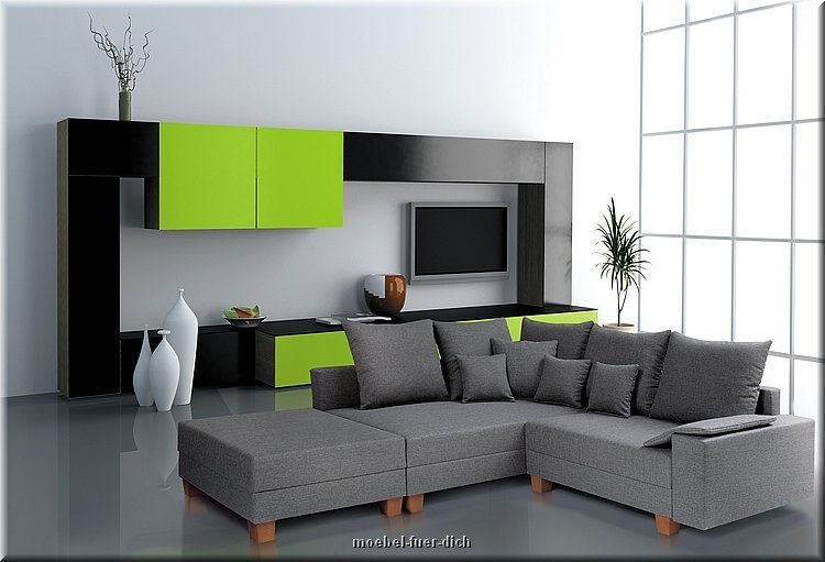 polsterecke ecksofa calvados mit bettkasten federkern hocker sonderpreis ebay. Black Bedroom Furniture Sets. Home Design Ideas