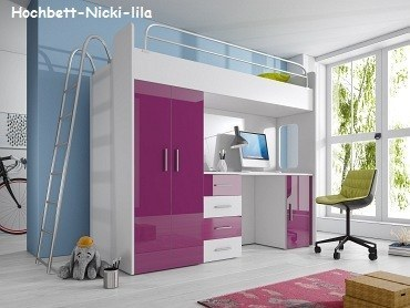 nicki hochbett kleiderschrank und schreibtisch mit hochglanz fronten ebay. Black Bedroom Furniture Sets. Home Design Ideas