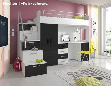 hochglanz hochbett pati mit schreibtisch schrank und regal in der treppe wei ebay. Black Bedroom Furniture Sets. Home Design Ideas