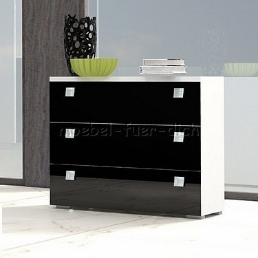 komplett schlafzimmer rivabox in hochglanz mit boxspringbett wei schwarz ebay. Black Bedroom Furniture Sets. Home Design Ideas