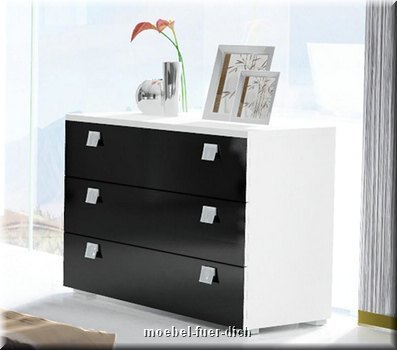 schlafzimmer komplett hochglanz wei schwarz doppelbett. Black Bedroom Furniture Sets. Home Design Ideas