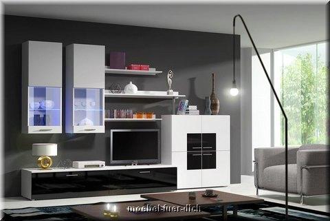 wohnwand anbauwand schrankwand beta wohnzimmer led hochglanz weiss schwarz neu ebay. Black Bedroom Furniture Sets. Home Design Ideas