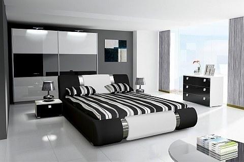 Schlafzimmer weiß schwarz  Schlafzimmer Komplett Hochglanz weiss schwarz Schrank, Bett mit ...