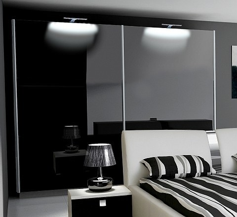 schlafzimmer komplett hochglanz schwarz schrank bett 2 nako. Black Bedroom Furniture Sets. Home Design Ideas