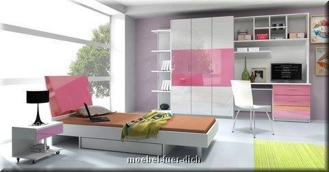 jugendzimmer kinderzimmer komplett lisa hochglanz 6 teilig. Black Bedroom Furniture Sets. Home Design Ideas