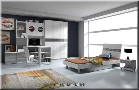 Jugendzimmer Hochglanz weiß schwarz grau rosa viol - Möbel für Dich ...