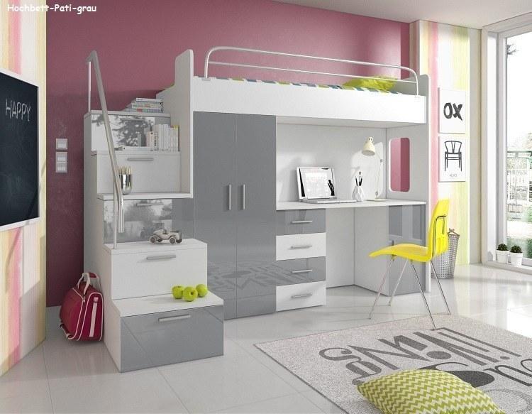 pati hochbett mit schreibtisch schrank und regal in der. Black Bedroom Furniture Sets. Home Design Ideas