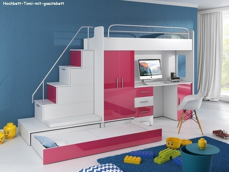 tomi hochbett mit schreibtisch schrank treppe und g stebett mit hochglanzfront ebay. Black Bedroom Furniture Sets. Home Design Ideas