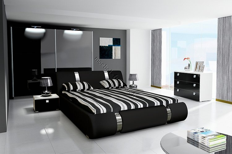komplett schlafzimmer hochglanz schwarz kleiderschrank bett 2 nako ebay. Black Bedroom Furniture Sets. Home Design Ideas
