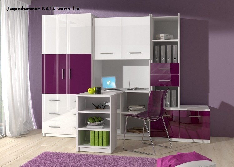 jugendzimmer kinderzimmer kati hochglanz wei rosa schwarz lila grau ebay. Black Bedroom Furniture Sets. Home Design Ideas