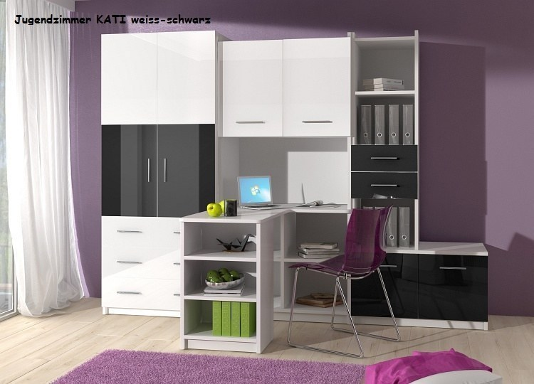 jugendzimmer kinderzimmer kati hochglanz wei grau schwarz lila rosa ebay. Black Bedroom Furniture Sets. Home Design Ideas