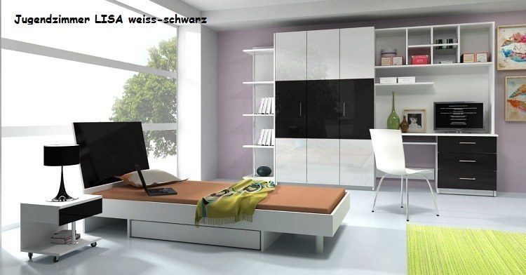 komplett jugendzimmer lisa 6 tlg wei fronten hochglanz in schwarz grau rosa ebay. Black Bedroom Furniture Sets. Home Design Ideas