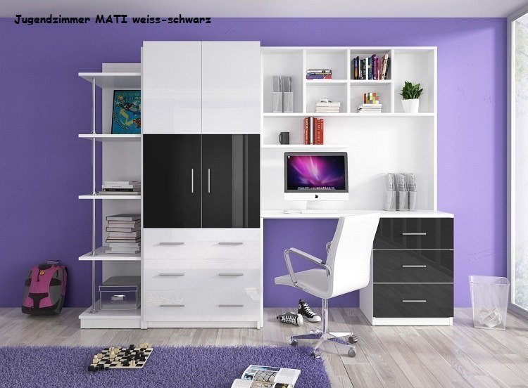 jugendzimmer kinderzimmer mati hochglanz wei schwarz. Black Bedroom Furniture Sets. Home Design Ideas
