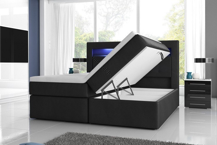 boxspringbett mit zwei bettkasten 140 160 oder 180x200 wei oder schwarz ebay. Black Bedroom Furniture Sets. Home Design Ideas