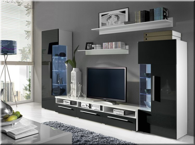 wohnzimmer wohnwand roma hochglanz schwarz anbauwand mit led 5 teilig neu. Black Bedroom Furniture Sets. Home Design Ideas
