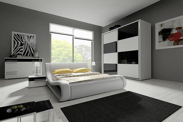 Hochglanz Komplett Schlafzimmer Angelo mit Designer Polsterbett ...