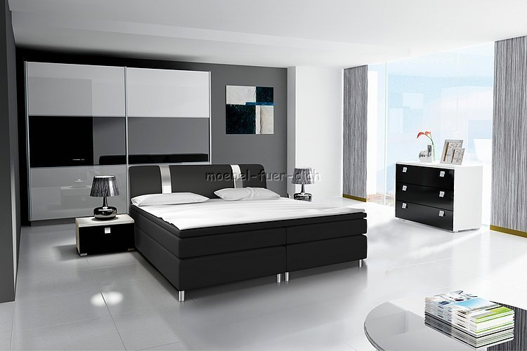 hochglanz schlafzimmer mit boxspringbett m bel f r dich online shop. Black Bedroom Furniture Sets. Home Design Ideas