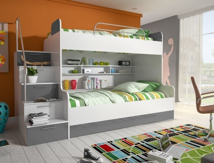 etagenbett doppelstockbett hochglanz weiss grau kinderbett. Black Bedroom Furniture Sets. Home Design Ideas