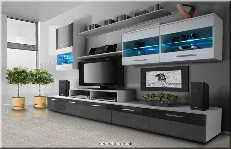 moderne hochglanz wohnwand beta mit led beleuchtung - möbel für ... - Wohnwnde Hochglanz