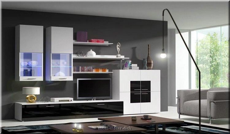 wohnwand delta hochglanz und inkl led m bel f r dich. Black Bedroom Furniture Sets. Home Design Ideas