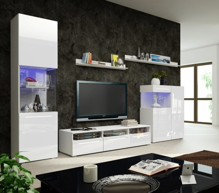 designer wohnwand nicea ii hochglanz weiss mit led 5 teilig neu ebay. Black Bedroom Furniture Sets. Home Design Ideas