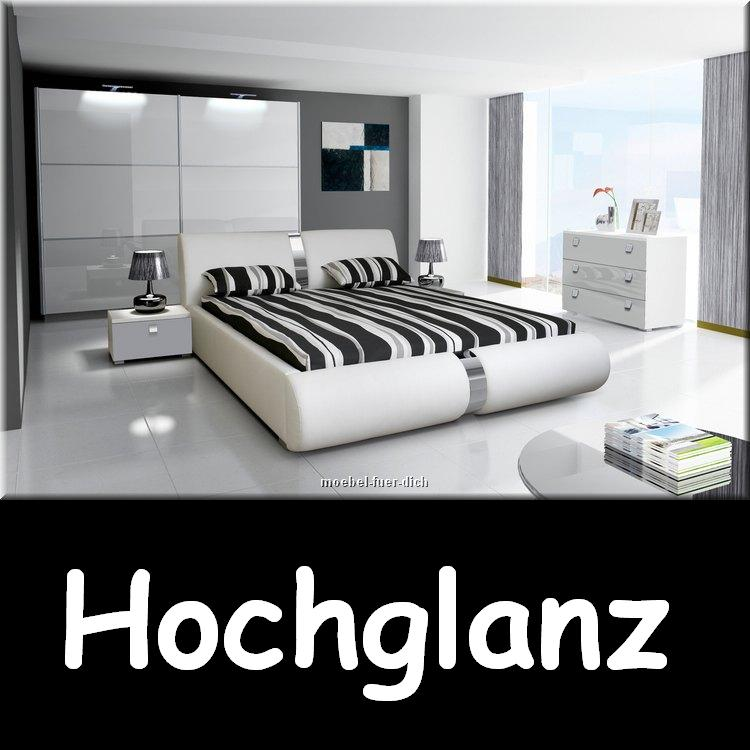 novalis hochglanz wei schlafzimmer komplett polsterbett schiebet renschrank ebay. Black Bedroom Furniture Sets. Home Design Ideas