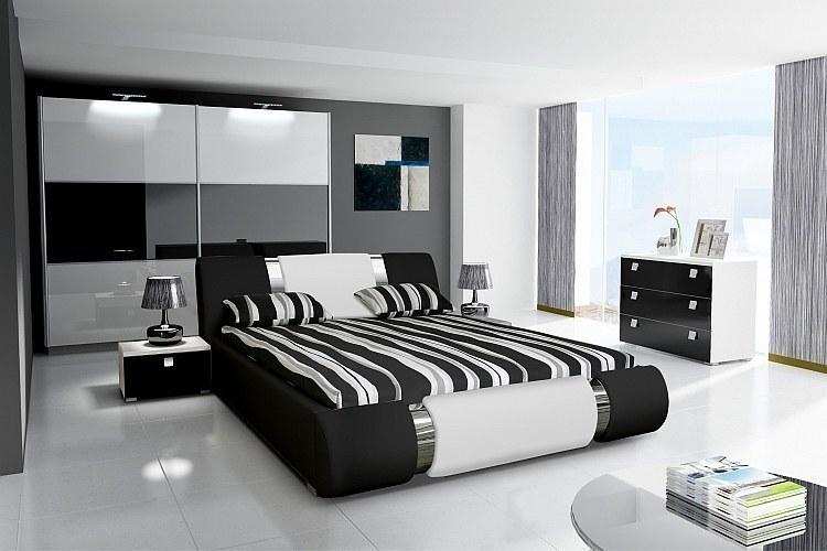 schlafzimmer komplett hochglanz schwarz weiss bett
