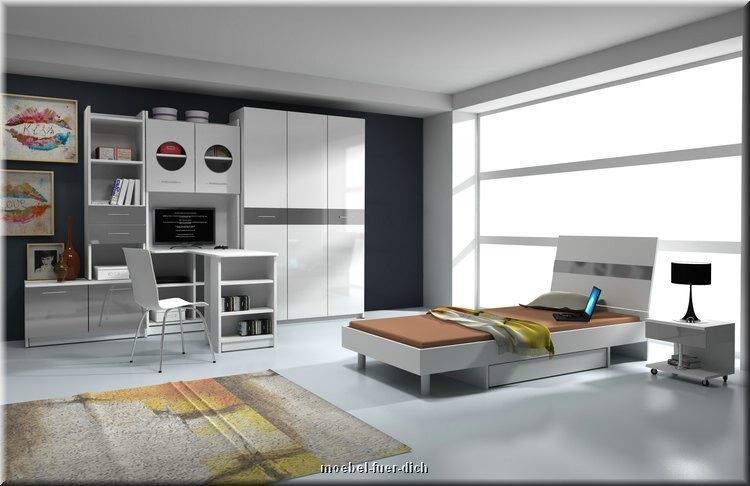 hochglanz jugendzimmer kinderzimmer komplett kai 6 teilig farbe w hlbar ebay. Black Bedroom Furniture Sets. Home Design Ideas
