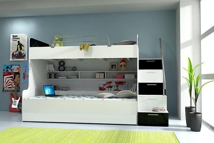 etagenbett doppelstockbett hochglanz weiss schwarz kinderbett mit bettkasten neu ebay. Black Bedroom Furniture Sets. Home Design Ideas