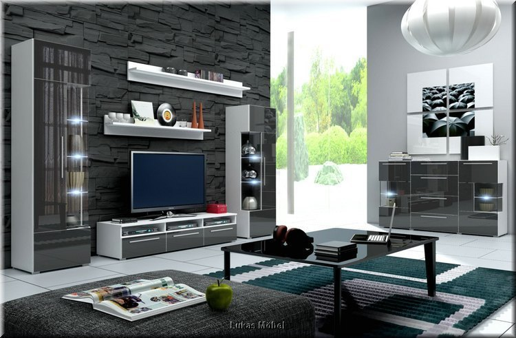 moderne wohnwand schrankwand hochglanz weiss grau roma mit led 5 teilig neu ebay. Black Bedroom Furniture Sets. Home Design Ideas