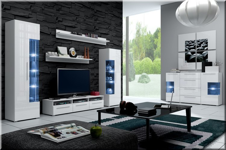 moderne wohnwand schrankwand hochglanz weiss roma mit led. Black Bedroom Furniture Sets. Home Design Ideas