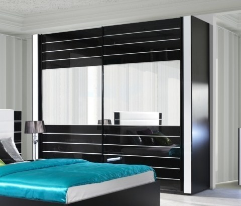 hochglanz cappuccino schlafzimmer komplett bett kleiderschrank 250 cm 2 nako ebay. Black Bedroom Furniture Sets. Home Design Ideas