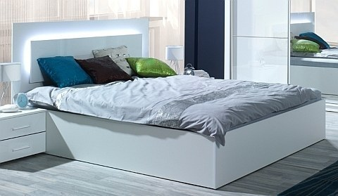 komplett schlafzimmer siena hochglanz wei mit led bett schrank 2 x nako neu ebay. Black Bedroom Furniture Sets. Home Design Ideas