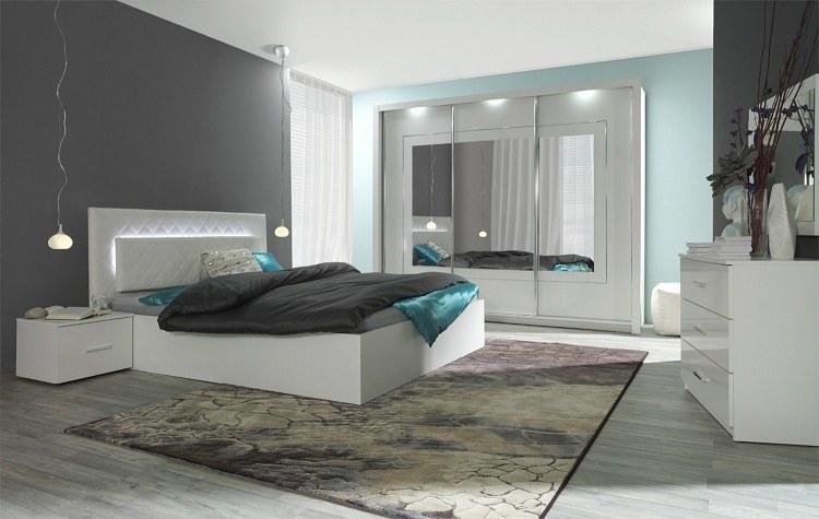 hochglanz weiß schlafzimmer panarea bett mit lattenrost matratze, Schlafzimmer ideen