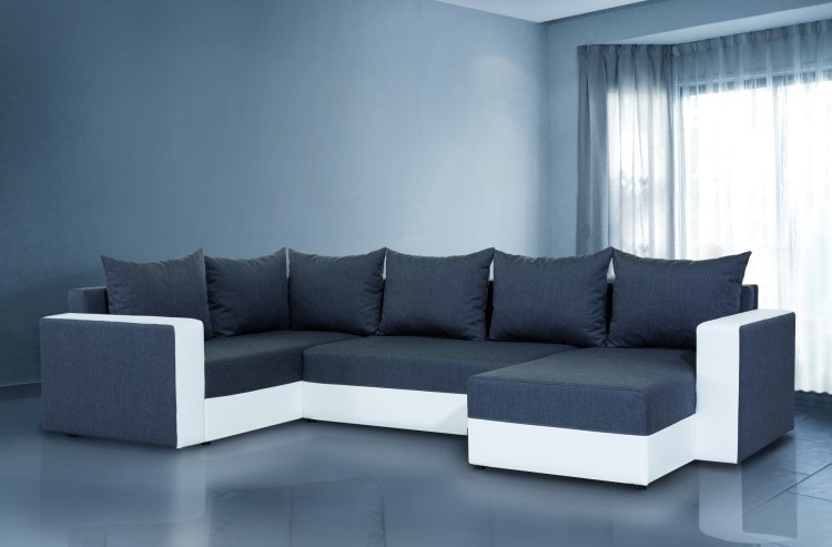details zu wohnlandschaft xxl sofa u form fendi mit schlaffunktion. Black Bedroom Furniture Sets. Home Design Ideas