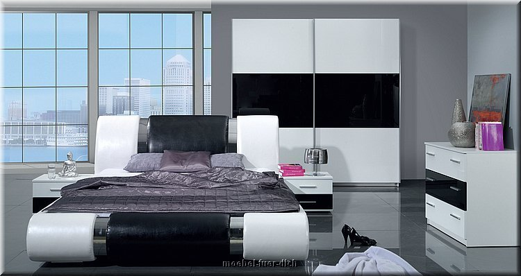 komplett schlafzimmer kansas hochglanz wei schwarz mit bettkasten u lattenrost ebay. Black Bedroom Furniture Sets. Home Design Ideas